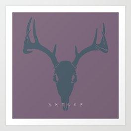 Deer Skull Antlers on Purple Art Print