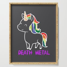 Death Metal Unicorn Rainbow Mane Gift Serving Tray