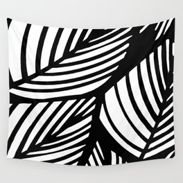 Artistic Black And White Overlapping Leaves Abstract Wall Tapestry
