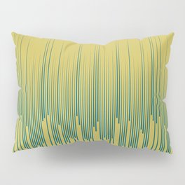 Tropical Dark Teal Minimal Frequency Line Art Inspired by Sherwin Williams 2020 Trending Color Oceanside SW6496 on Dark Yellow Pillow Sham