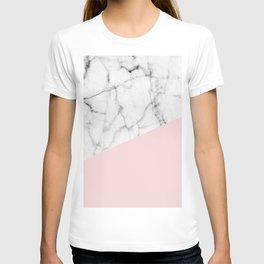 Real White Marble Half Powder Blush Pink T-shirt