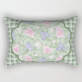Flower Play Antique Pink Lavender on Green Plaid Rectangular Pillow
