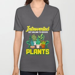 Cute Introverted But Willing To Discuss Plants Unisex V-Neck