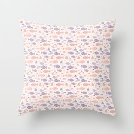 Pink Pastel Tiny Fish Doodles Throw Pillow