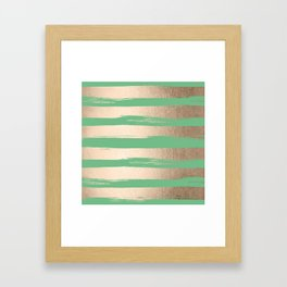 Painted Stripes Gold Tropical Green Framed Art Print