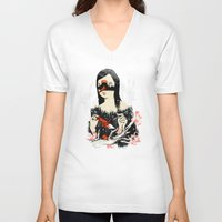 crane V-neck T-shirts featuring The Crane Wife by Picomodi