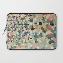 SWEPT AWAY 4 - Lovely Shabby Chic Soft Pink Ocean Waves Mermaid Splash Abstract Acrylic Painting Laptop Sleeve