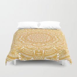 Golden Mustard Yellow Orange Ethnic Mandala Detailed Duvet Cover