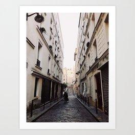 Narrow Cobbled Streets of Montmartre Art Print