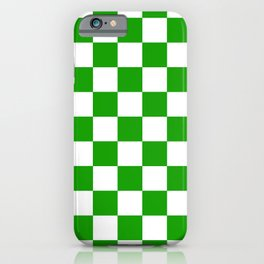 Checker Texture (Green & White) iPhone Case