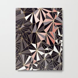 Stylish Art Deco Geometric Pattern - Black, Coral, Gold #abstract #pattern Metal Print
