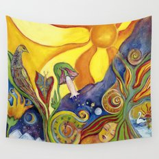 The Dream Whimsical Modern Fantasy Psychedelic Art by Garden Of Delights Wall Tapestry