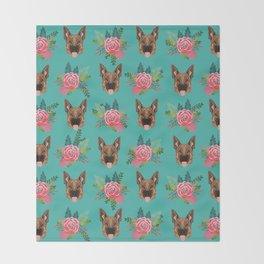 German Shepherd florals bouquet dog breed pet friendly pattern dogs Throw Blanket