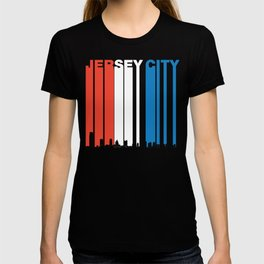 Red White And Blue Jersey City New Jersey Skyline T-shirt