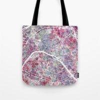 paris map Tote Bags featuring Paris Map by MapMapMaps.Watercolors