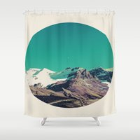 snowboarding Shower Curtains featuring Mountains of Things by Jenna Davis Designs