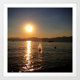Sunset at Garda lake Art Print
