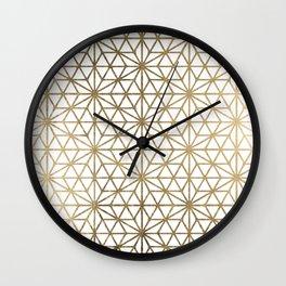 Modern geometric gold stars pattern on white Wall Clock