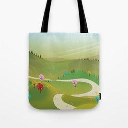 Cartoon hilly landscape Tote Bag