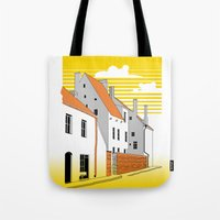 medieval Tote Bags featuring Medieval houses by LaDa