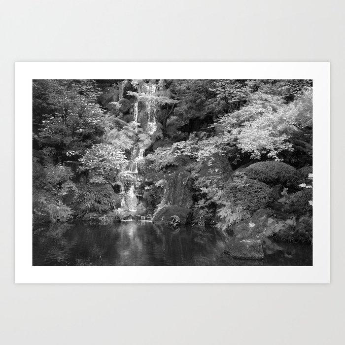 Waterfall In Japanese Zen Garden Art Print By Bradleyhebdon Society6