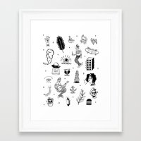 tattoos Framed Art Prints featuring Flash Tattoos by Hamburger Hands
