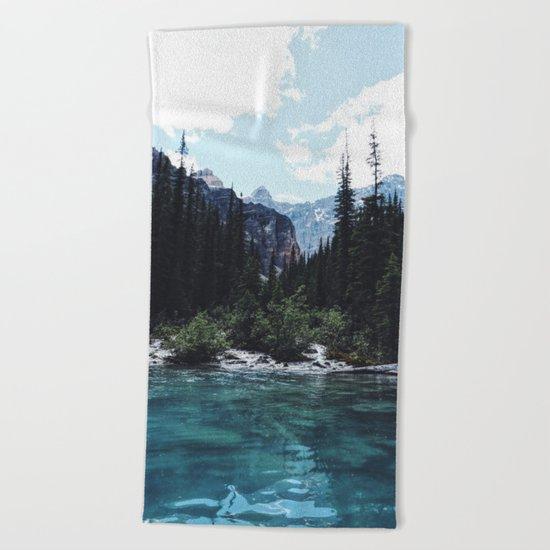 Glacier Creek, Moraine lake Banff Beach Towel