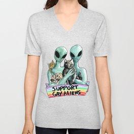 support gay aliens Unisex V-Neck