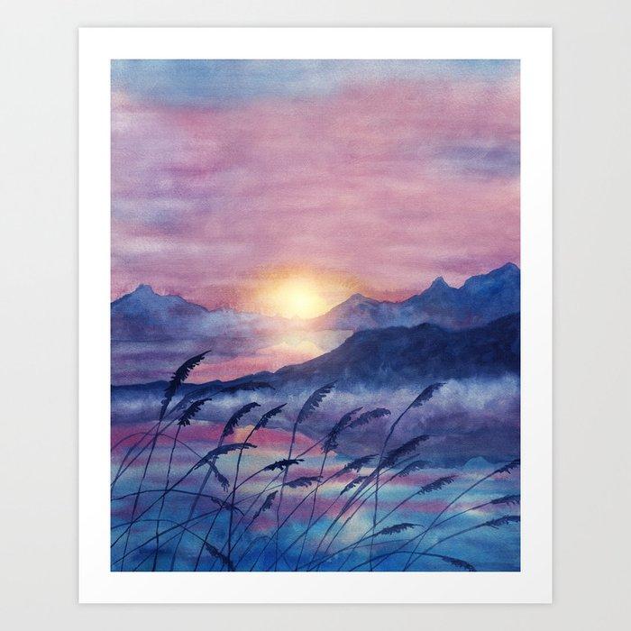 Sunday's Society6 | Landscape sunset watercolor art print