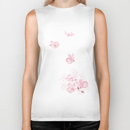 falling pink cherry blossom flower watercolor 2019 Biker Tank