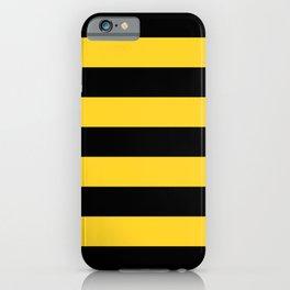 Yellow and Black Honey Bee Horizontal Cabana Tent Stripes iPhone Case