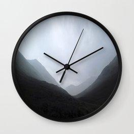 Back in the crouching mountains... Glencoe, Scotland Wall Clock
