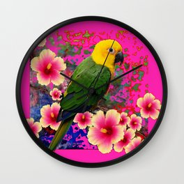 YELLOW HEADED GREEN PARROT PINK HIBISCUS  FUCHSIAFLORAL Wall Clock