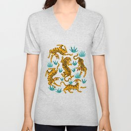 Cute tiger dance in the tropical forest hand drawn illustration Unisex V-Neck