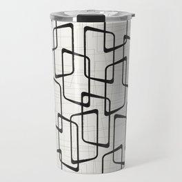 Black Retro Rounded Rectangles Geometric Pattern Travel Mug