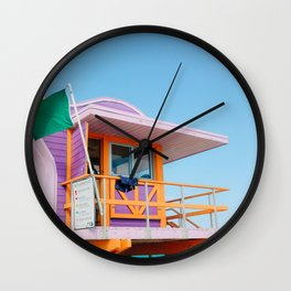 Colorful pink Lifeguard Station on Miami Beach Florida Wall Clock