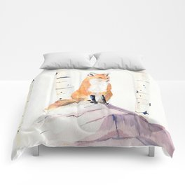 Fox and Birch Trees Comforters