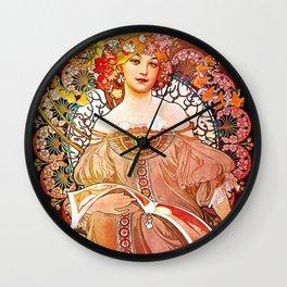 Alphonse Mucha Daydream Floral Vintage Art Nouveau Wall Clock