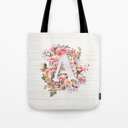 Initial Letter A Watercolor Flower Tote Bag