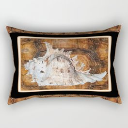 Creamy-White Organic Sea Shell Brown Turtle Back Frame Rectangular Pillow