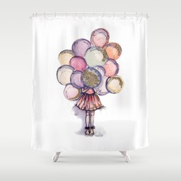 Float Away // Fashion Illustration Shower Curtain