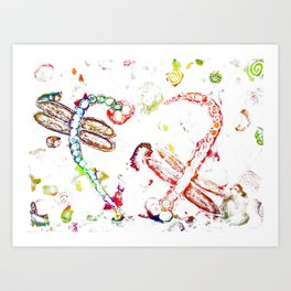 Colouful Life of Dragonflies with A Twist Art Print