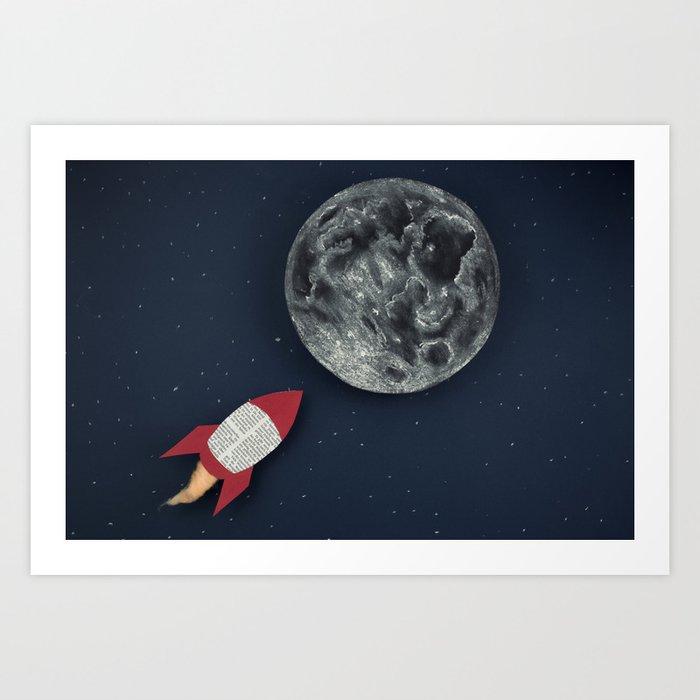 Rockets To The Moon: Rocket To The Moon Art Print By Josemanuelerre