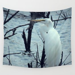 Great Egret White Bird Blue Water A107 Wall Tapestry