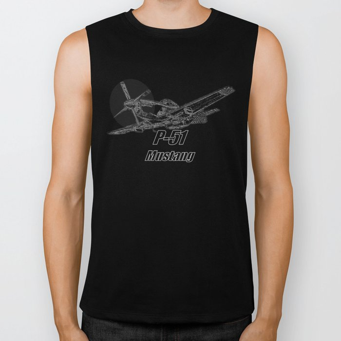 P 51 Mustang line drawing Biker Tank