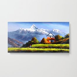 Panoramic View Of Beautiful Everest Mountain Metal Print