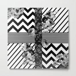 Trendy Black and White Floral Lace Stripes Chevron Metal Print