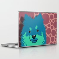 pomeranian Laptop & iPad Skins featuring Olie the Pomeranian in Blue by JENNY RED