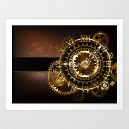 Steampunk Clock with Gears Art Print