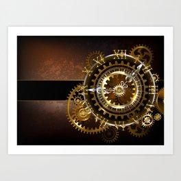 Steampunk Clock with Gears Art Print